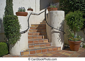 Southwest Stairway - A Southwest style clay tile stairway in...