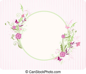 round banner with floral ornament and pink flowers