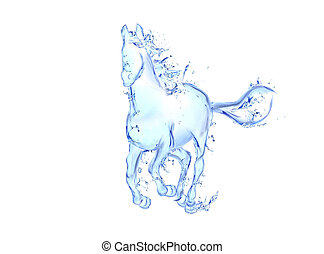 Galloping horse liquid artwork - Animal figure in motion...