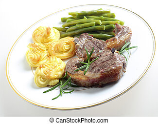Lamb chops with duchess potates - A meal of lamb chops,...