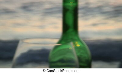 On the sea - Stilllife full of atmosphere with red wine on a...