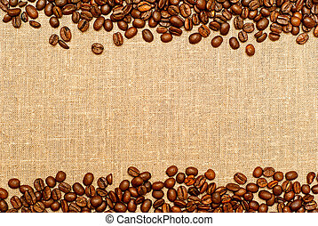 coffee background - coffee grains on the burlap backgruond...