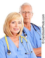 Doctors - Smiling medical doctors with stethoscope Isolated...