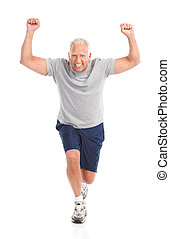 Gym & Fitness. Smiling elderly man working out. Isolated...
