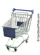 Shopping Cart - a silver Shopping Cart on a white background