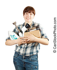 young woman with household appliances