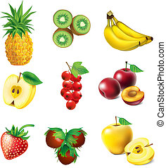 Set of fruit - Set of vector fruit - pineapple, kiwi, apple,...