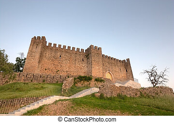 Castle at Dusk - Wide view of Pombal Castle in Portugal,...