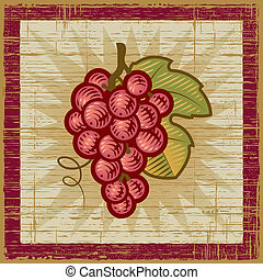 Retro grapes bunch on wooden background. Vector illustration...