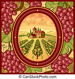 Vineyard - Retro vineyard in woodcut style. Vector...
