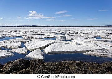 détruit, Printemps, mer, glace
