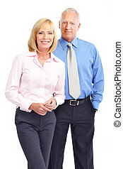 Business people - Mature business people Isolated over white...