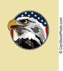 Eagle - Eagle on a background of the American flag