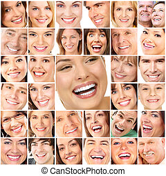 Faces of smiling people Teeth care Smile