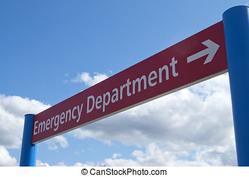 Emergency sign - Hospital sign pointing to the Emergency...