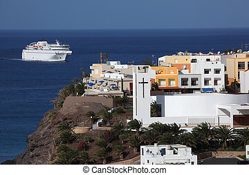 Ferry approaching Morro Jable, Fuerteventura Spain