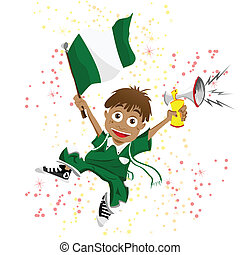 Nigeria Sport Fan with Flag and Horn - Vector - Nigeria...
