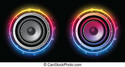 Disco Speaker with Neon Rainbow Circle