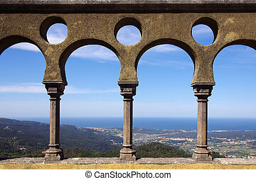 Palace arch - Arabic arch details of Pena Palace in Sintra,...