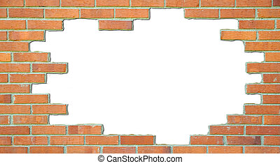 Standard brick wall, orange color, with white place for text