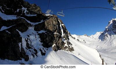Ski lift going up