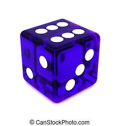 Violet Dice - 3D violet rolling dice on white background