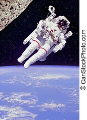 astronaut floating in space - composite of floating...