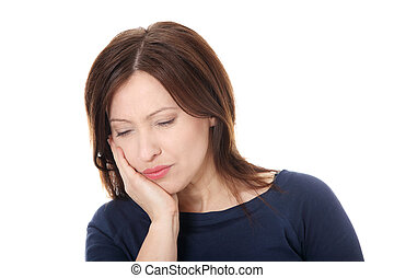Woman having terrible tooth ache - Attractive woman in her...