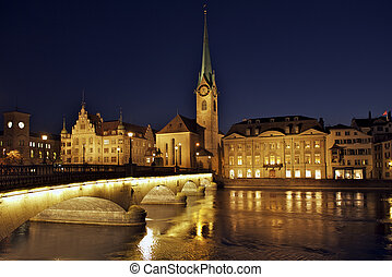 Zurich Fraumunster - Fraumunster cathedral with river Limmat...