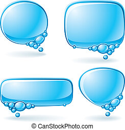 Aqua speech bubble set - Set of speech bubbles formed from...