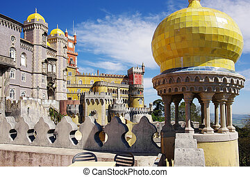 Pena Palace - View of the Pena Palace in Sintra National...