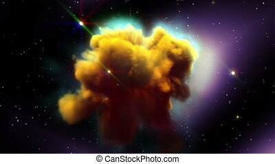 Space Nebula with More Glow Stars - Space Eagle Nebula with...