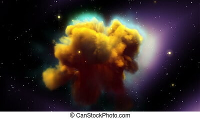 Space Nebula with Less Glow Stars - Space Eagle Nebula with...