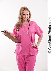 Beautiful twenties caucasian healthcare worker nurse doctor