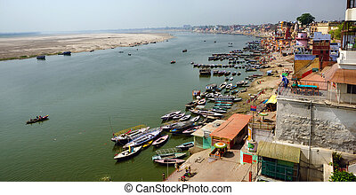 Varanasi Panorama - A panoramic birds eye view of the...