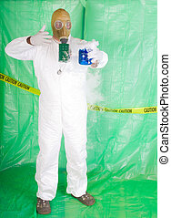 cámara, descontaminación,  hazmat, ropa, hombre