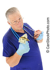 Doctor holding fist full of money repesentign the escalating...