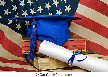 American Gradation Day - Blue graduation cap on old school...