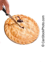 cutting a cherry pie, isolated