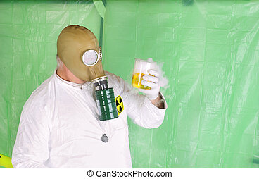 man holding hazardous chemical