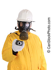 man in protective suit - manin hard hat, hazmat suit...