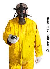 Man in gasmask on white - Man in gasmask and yellow hazmat...
