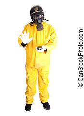 Policeman in Hazmat clothing with gieger counter isolated...