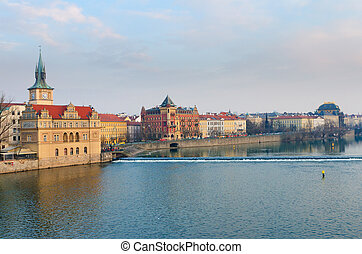 View to Vltava river and Smetanovo Nabrezi from Charles...