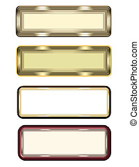 metal over white labels - rectangle metal labels