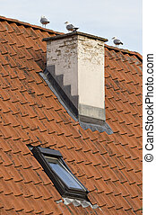 Dormer - Roof with red tiling, dormer and chimney