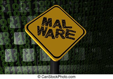 Malware warning sign on binary code illustration