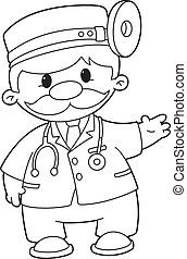doctor outlined - illustration of a doctor outlined