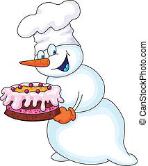 snowman with a cake