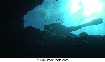 Diver - Exploring a cave